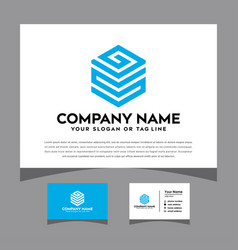 Initials gs logo with a business card vector