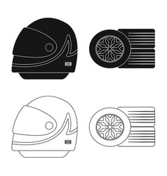 Isolated object car and rally symbol set of vector