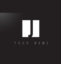 j letter logo with black and white negative space vector image