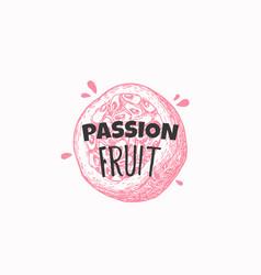 Juicy fresh passion fruit badge label or logo vector