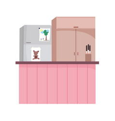 Kitchen interior fridge furniture cupboard counter vector