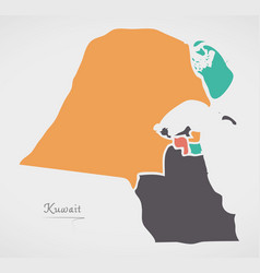 Kuwait map with states and modern round shapes vector