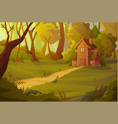 little house nestling in a summer forest vector image
