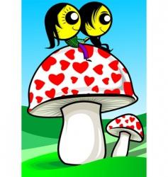 lovers on mushroom vector image
