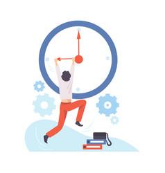 man hangs on arrow a huge clock vector image