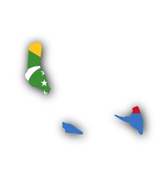 Map and flag of the Comoros vector image