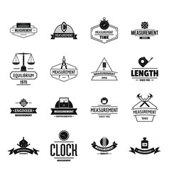 Measure precision logo icons set simple style vector