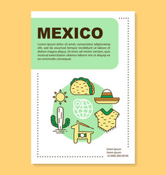 Mexico brochure template layout mexican culture vector