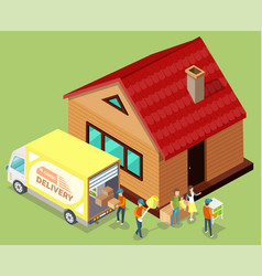 moving house cargo delivery truck image vector image