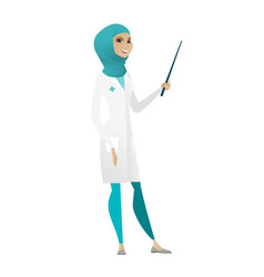 Muslim doctor holding pointer stick vector