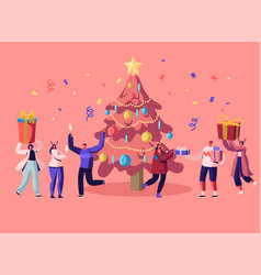 new year bash happy people celebrating party vector image