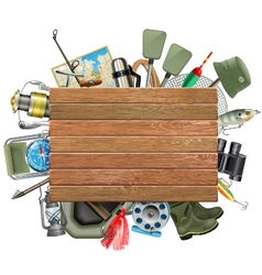 Old Wooden Board with Fishing Tackle vector