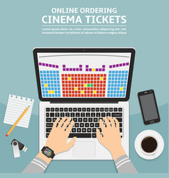 Online cinema ticket order flat design concept vector