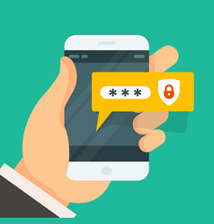 password entering on smartphone - smart phone vector image