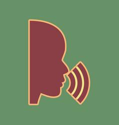 People speaking or singing sign cordovan vector