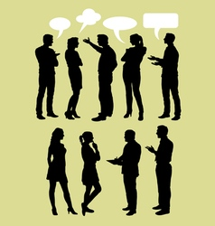 People talking with speech bubbles silhouette vector