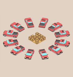 pickup trucks waiting to be loaded vector image