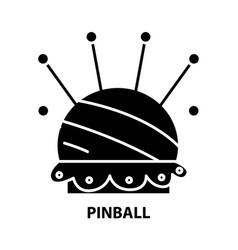 Pinball icon black sign with editable vector