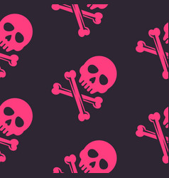 Pink skull and bones seamless pattern vector