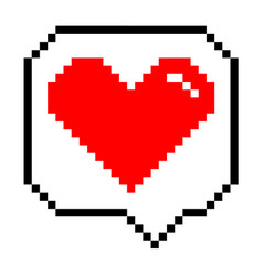 Pixel heart icon vector
