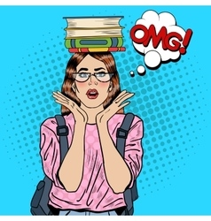 Pop art woman student with books on her head vector