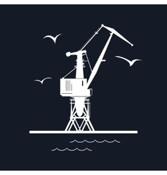 Port Cargo Crane Isolated on Black vector