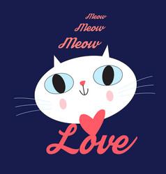 portrait enamored cat vector image