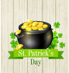 pot of gold and clover leaves vector image