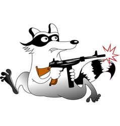 Raccoon with a gunhunter vector