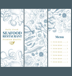 Seafood banner template set can be use for vector