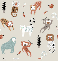 seamless pattern with monkey creative jungle vector image