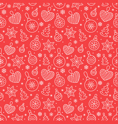 seamless pattern with white snowflakes and toy vector image