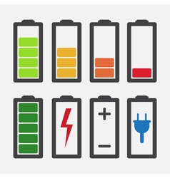 Set of colourful battery charge level indicators vector image