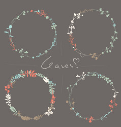 set vintage wreaths in natural plant flowers vector image