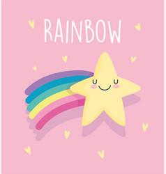 shooting star rainbow hearts love cartoon vector image