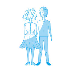 Silhouette nice couple with hairstyle and wear vector