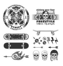 skateboarding emblem set vector image