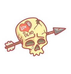 skull with inscription love is dead pierced by vector image
