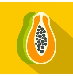 Sliced fresh papaya icon flat style vector