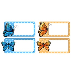 Square label with colorful butterflies vector image
