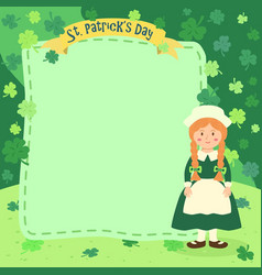 St patrick day braid girl notes vector