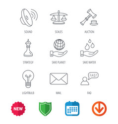 strategy auction and scales of justice icons vector image
