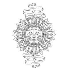 Sun with face drawing coloring book for adults vector