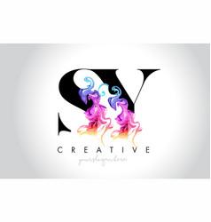 Sy vibrant creative leter logo design vector