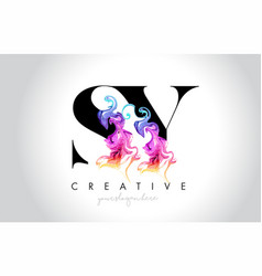 Sy vibrant creative leter logo design with vector