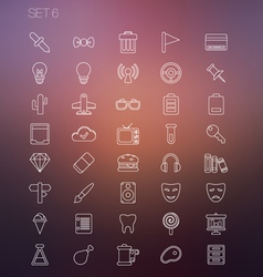 Thin icon set 6 vector