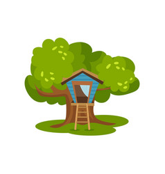 Treehouse hut on green tree for kids outdoor vector