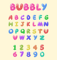 Typography bubbly font vector