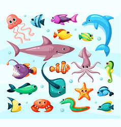 Underwater life fish colorful flat vector