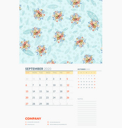 wall calendar template for september 2020 week vector image